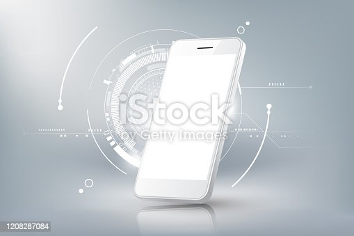 istock Realistic smartphone mockup Perspective view with blank display isolated, vector illustration 1208287084