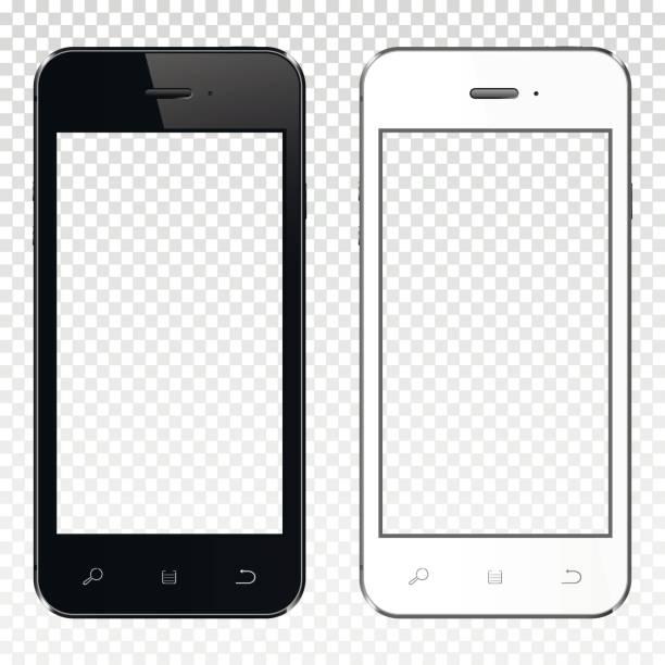Realistische Smartphones mit transparenten Leinwand auf transparenten Hintergrund isoliert – Vektorgrafik