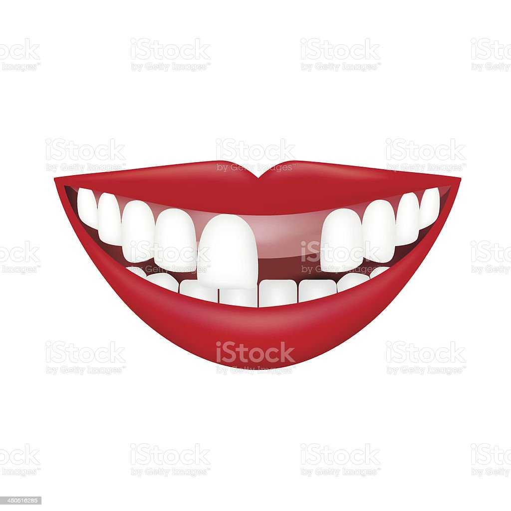 Realistic Smile isolated on white. Vector Illustration vector art illustration