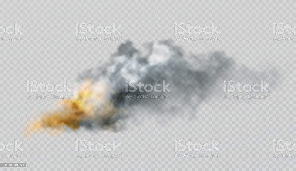 Realistic Smoke And Fire Shapes On A Black Background Vector Illustration Stock Illustration Download Image Now Istock