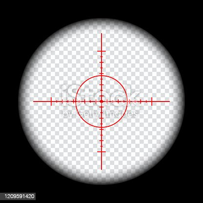 istock realistic sniper scope crosshairs view. sniper sight with measurement marks. sniper scope template isolated on transparent background. rifle optical sight. 1209591420