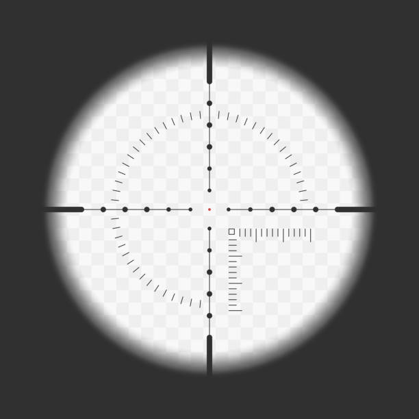 Realistic sniper sight. Realistic sniper sight with measurement marks. Sniper scope template isolated on transparent background. View through a rifle scope. Vector illustration. EPS 10. surveillance stock illustrations