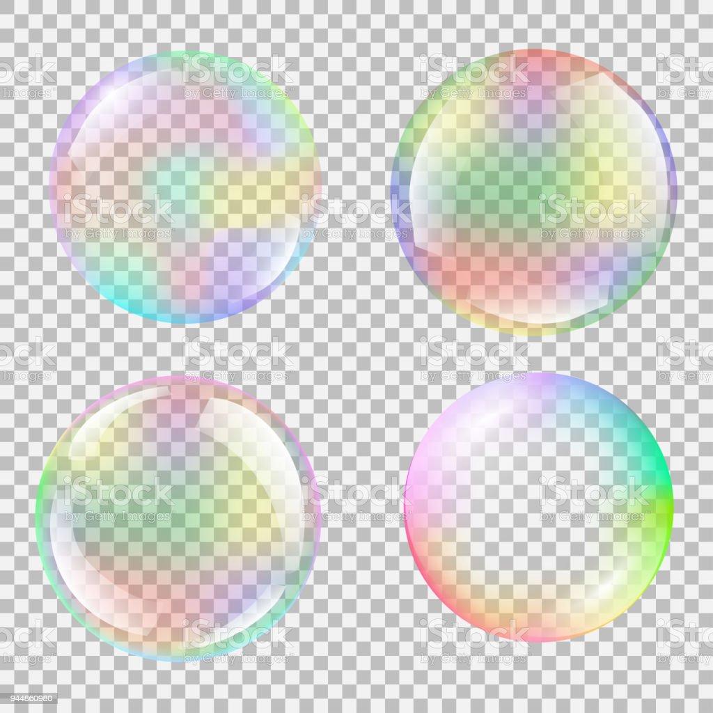Realistic soap bubble set with rainbow reflection vector art illustration