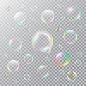 Realistic soap bubbles with rainbow reflection. Isolated vector on a transparent background. Illustration with transparencies, gradient and effects.