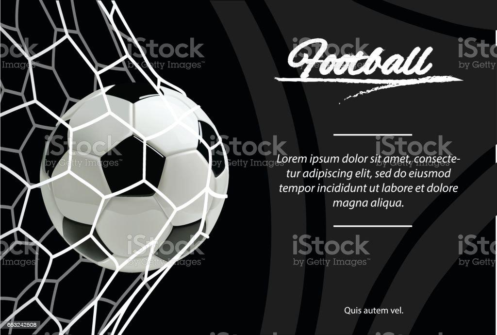 Ballon de foot réaliste en net isolée sur fond noir. Ballon de football classique. - Illustration vectorielle