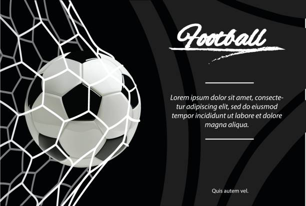 Realistic soccer ball in net isolated on black background. Classic football ball. vector art illustration