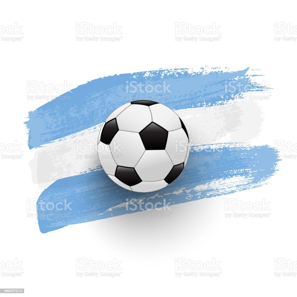Pelota de fútbol realista en la bandera de Argentina de trazos de pincel. Elemento de diseño vectorial. - ilustración de arte vectorial