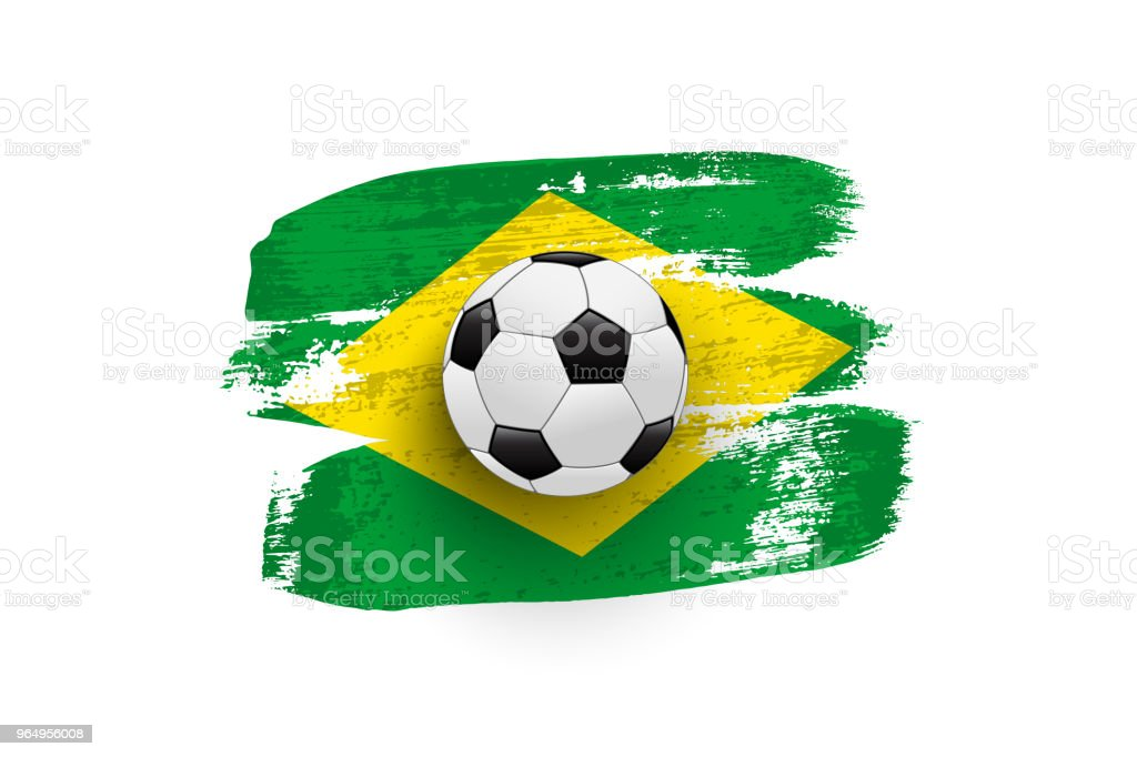 Realistic soccer ball on flag of Brazil made of brush strokes. Vector design element. vector art illustration