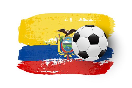 Realistic soccer ball on flag of Ecuador made of brush strokes. Vector football design element.