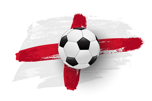 Realistic soccer ball on flag of England made of brush strokes. Vector football design element.