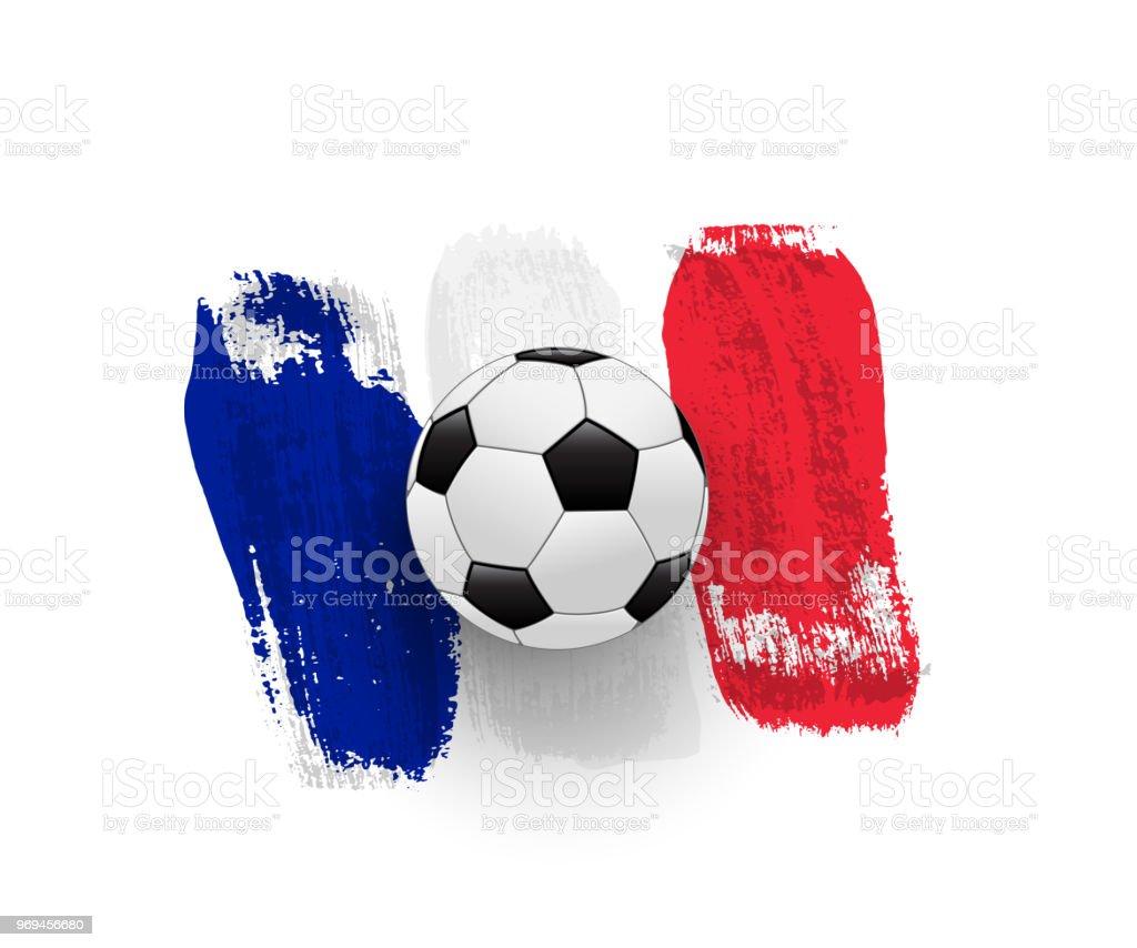 Vetores De Bola De Futebol Realista Na Bandeira Da França