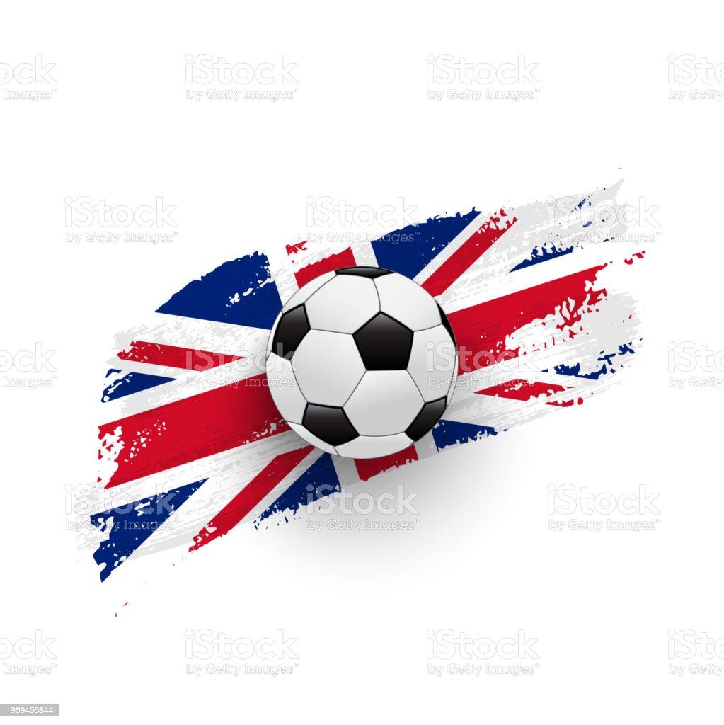 Vetores De Bola De Futebol Realista Na Bandeira Da Grãbretanha Fez De Pinceladas Elemento De Desenho Vetorial E Mais Imagens De Acariciando