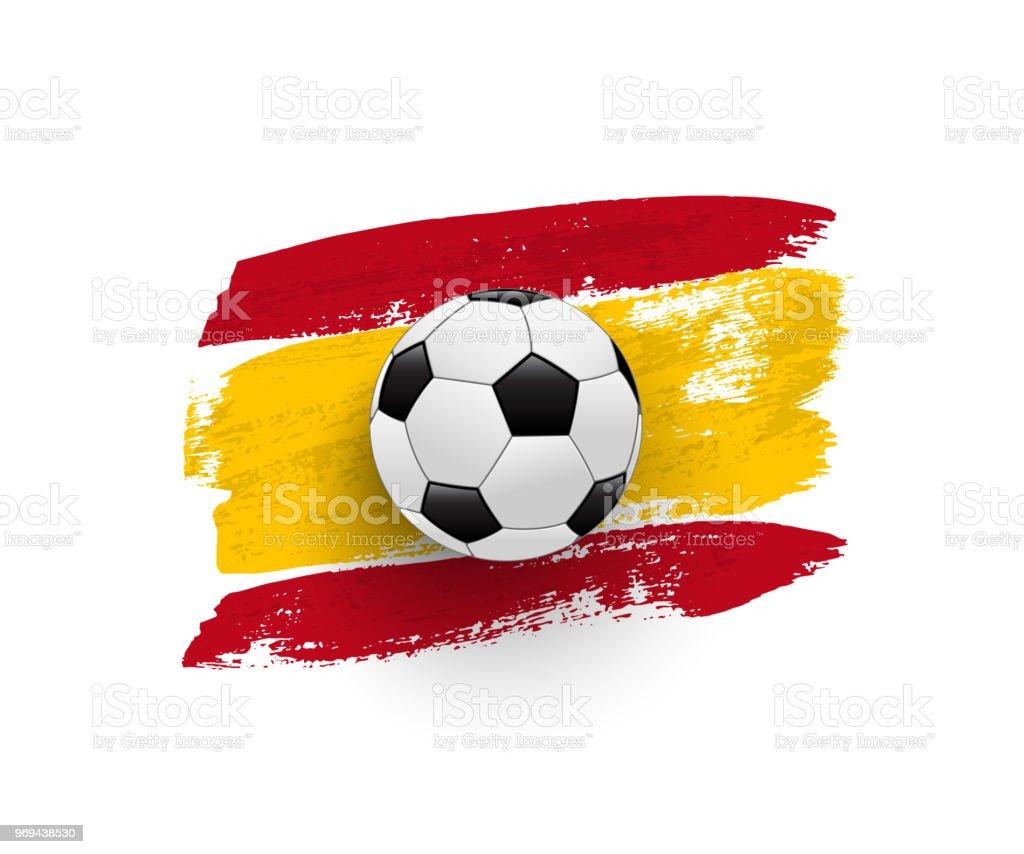 Vetores De Bola De Futebol Realista Na Bandeira Da Espanha