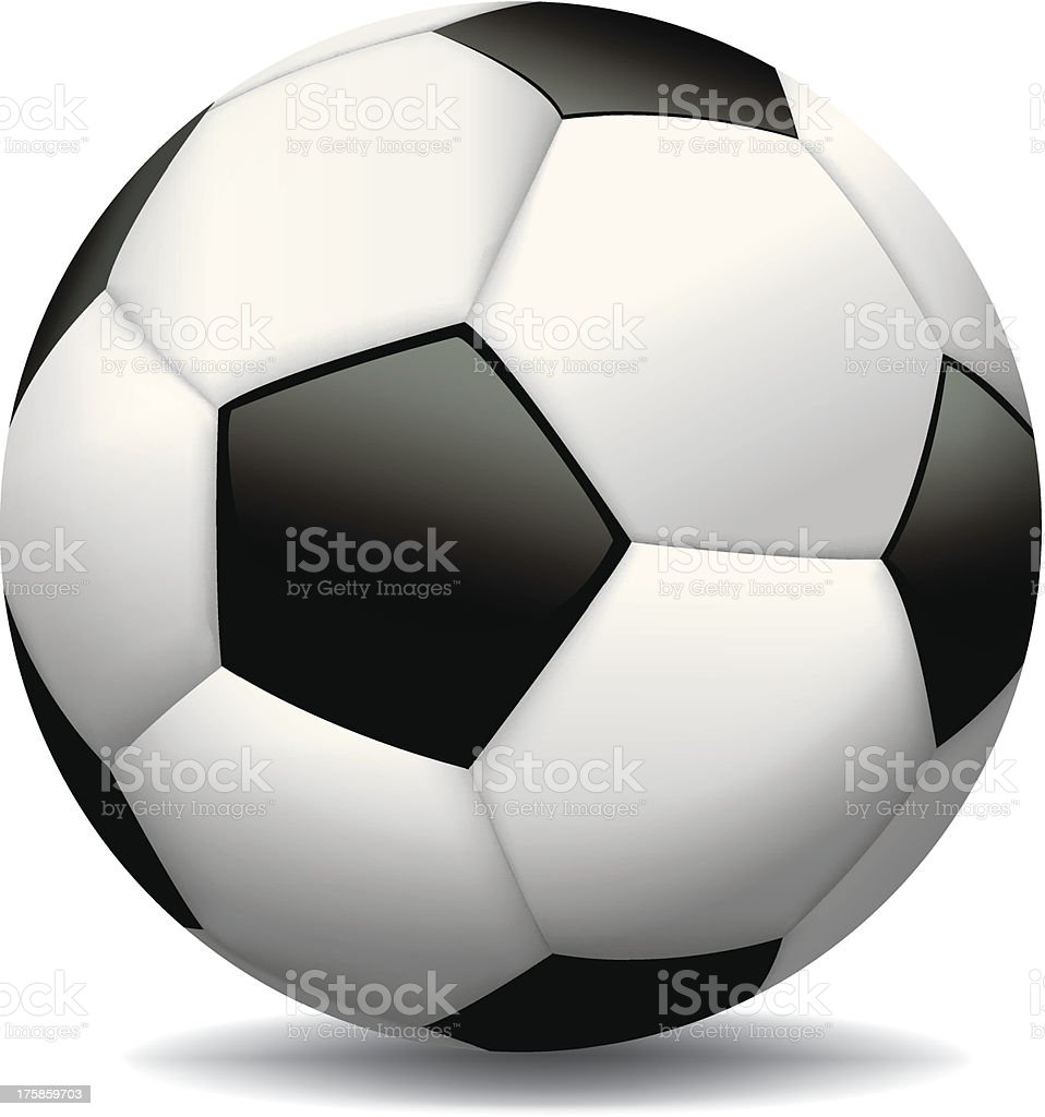 Realistic Soccer Ball on White Background royalty-free stock vector art