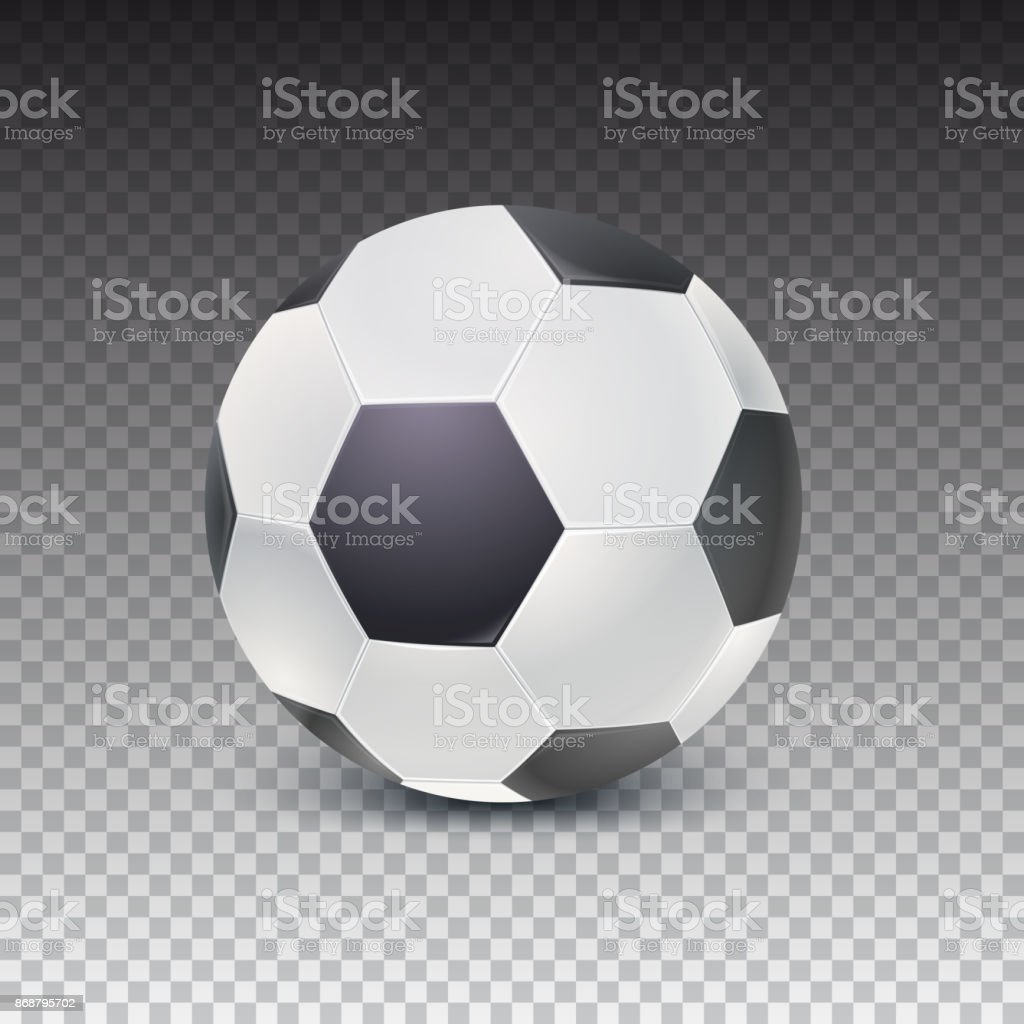 Realistic Soccer Ball With Shadow Isolated On Transparent Background