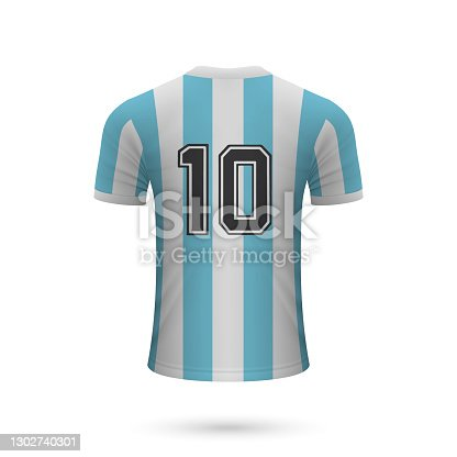 istock Realistic soccer shirt Argentina with number 10, 1302740301