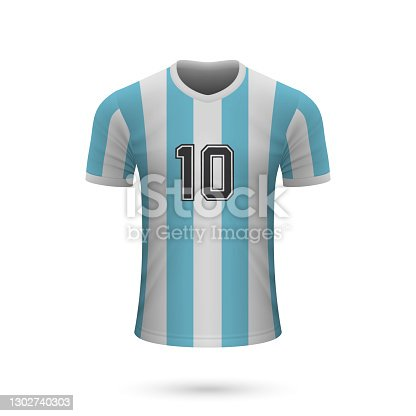 istock Realistic soccer shirt Argentina with number 10, 1302740303