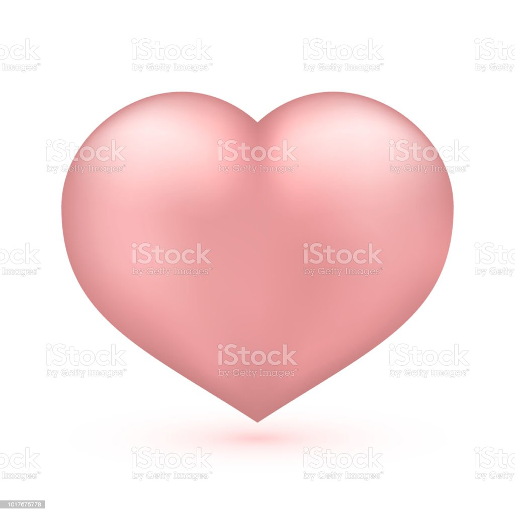 Realistic soft pink heart isolated on white valentines day greeting realistic soft pink heart isolated on white valentines day greeting card background 3d icon m4hsunfo