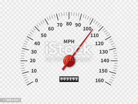 Realistic speedometer. Car odometer speed counter dial meter rpm motor miles measuring scale white engine meter vector racing concept