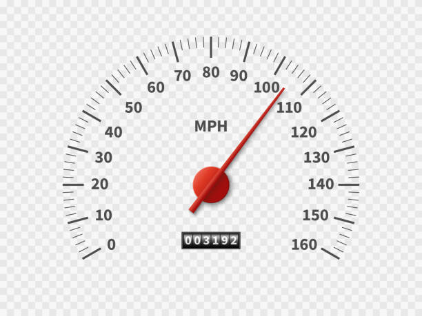 Realistic speedometer. Car odometer speed counter dial meter rpm motor miles measuring scale white engine meter concept Realistic speedometer. Car odometer speed counter dial meter rpm motor miles measuring scale white engine meter vector racing concept speedometer stock illustrations