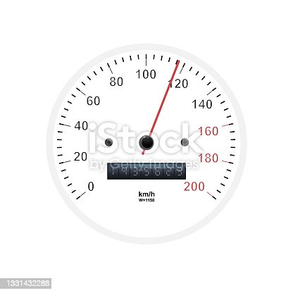 istock Realistic speedometer. Sport car odometer with motor miles measuring scale. Racing speed counter. Engine power concept template. Vector illustration 1331432288