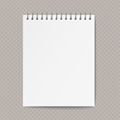 istock Realistic spiral paper notebook with shadow on transparent background. 1223276649