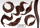 3D realistic splash of chocolate. Twisted dark chocolate with drop on transparent background. Set vector illustration