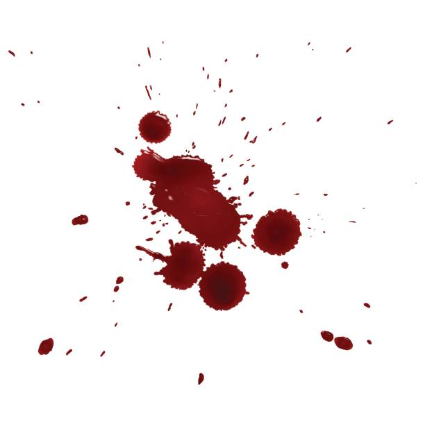 realistic splattered drops of blood vector art illustration