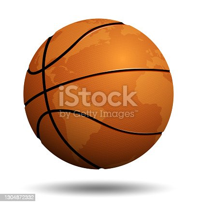 istock Realistic sport ball for basketball with continents of planet on white background. Team sports. Isolated vector 1304872332