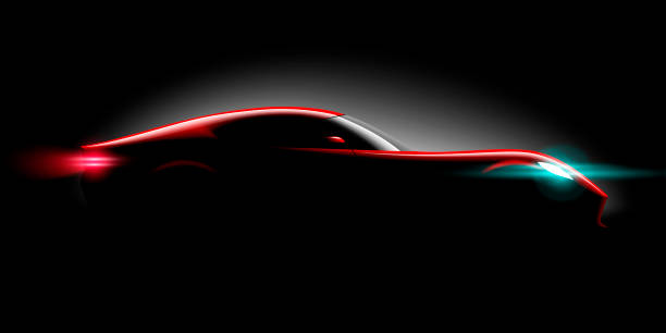 realistic sport super car coupe side view lighting in the dark realistic sport super car coupe side view lighting in the dark, vector illustration sports car stock illustrations