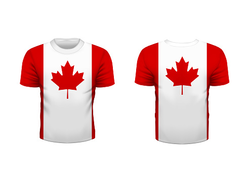 Realistic sport t-shirt with canada flag from front and back isolated on white