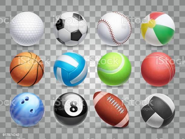 Realistische Sport Ballen Vector Grote Reeks Geïsoleerd Op Transparante Achtergrond Stockvectorkunst en meer beelden van Apparatuur