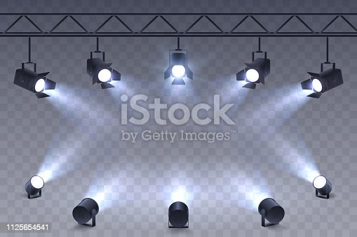 istock Realistic Spotlights isolated on transparent background. Scene illumination. Suspended and standing lighting. Elements for photo studio, show, scene. Vector illustration. 1125654541