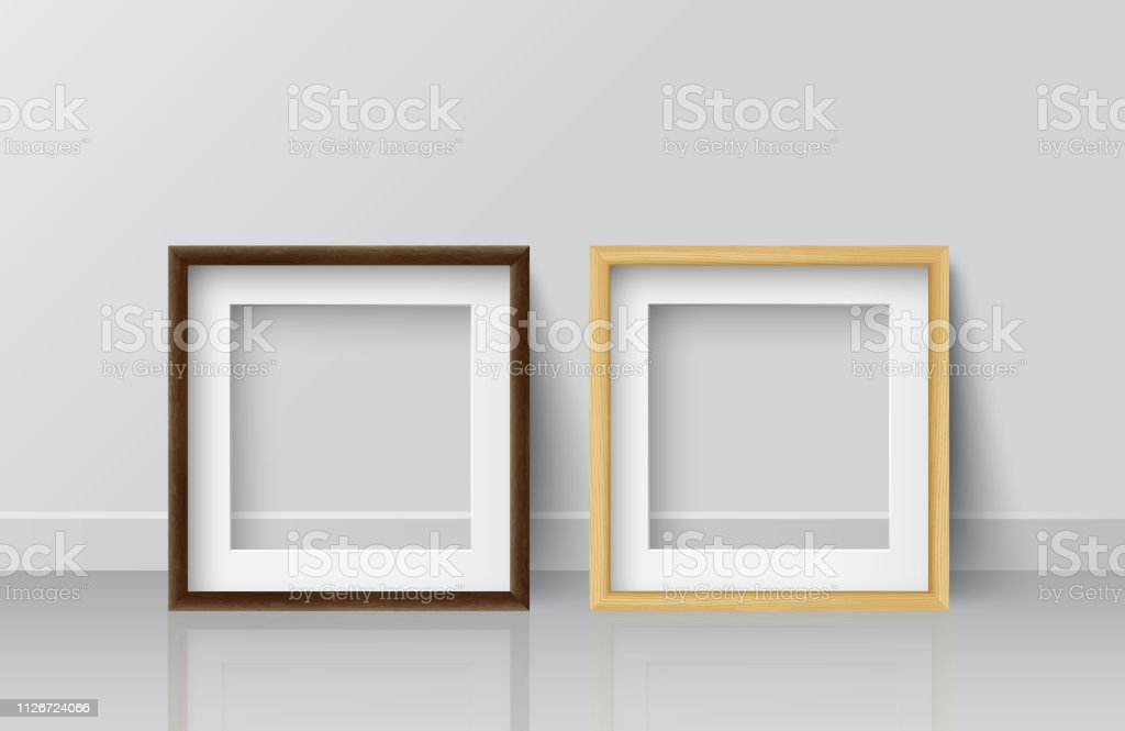 Realistische Square Licht Holz Und Dunklem Holz Leeres Bild ...