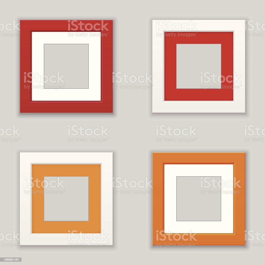 Realistic Square Picture Frame Set. Vector vector art illustration