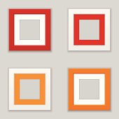 Realistic Square Picture Frame Set. Vector
