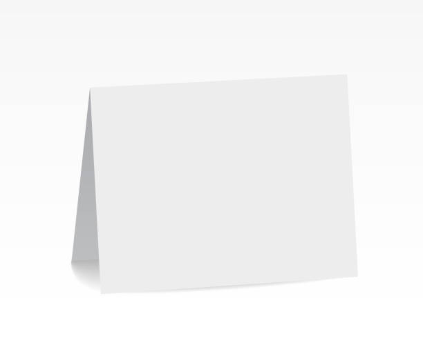 realistic standing white blank folded paper card - vector - greeting cards templates stock illustrations