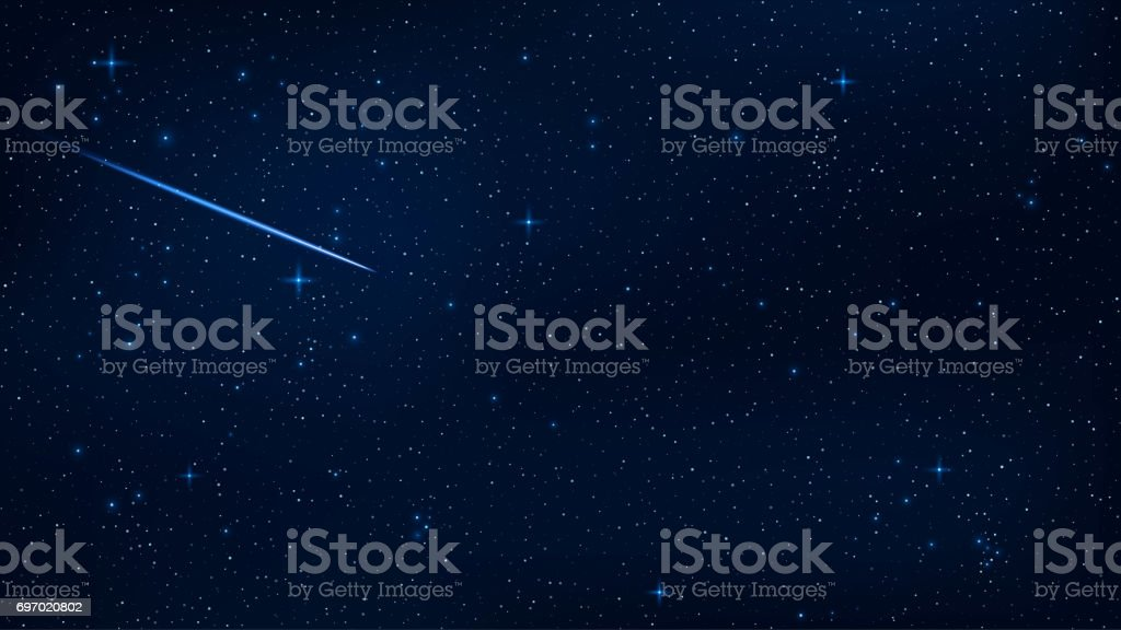A Realistic Starry Sky With Blue Glow Beautiful Shooting Star The Meteorite Is