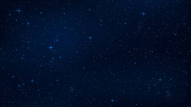 a realistic starry sky with a blue glow. shining stars in the dark sky. background, wallpaper for your project. vector illustration. eps 10 - skies stock illustrations, clip art, cartoons, & icons