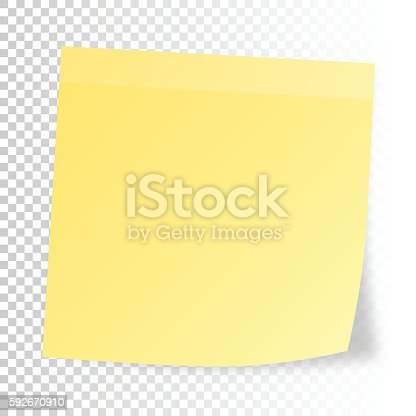 istock Realistic sticky note  isolated on blank background 592670910