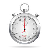 Realistic stopwatch with shadow on white background.