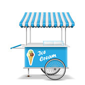 Realistic street food cart with wheels. Mobile blue ice cream market stall template. Ice cream market cart mockup. Vector illustration