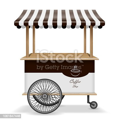 Realistic street food cart with wheels. Mobile coffee market stall template. Hot coffee kiosk store mockup isolated. Vector illustration EPS 10