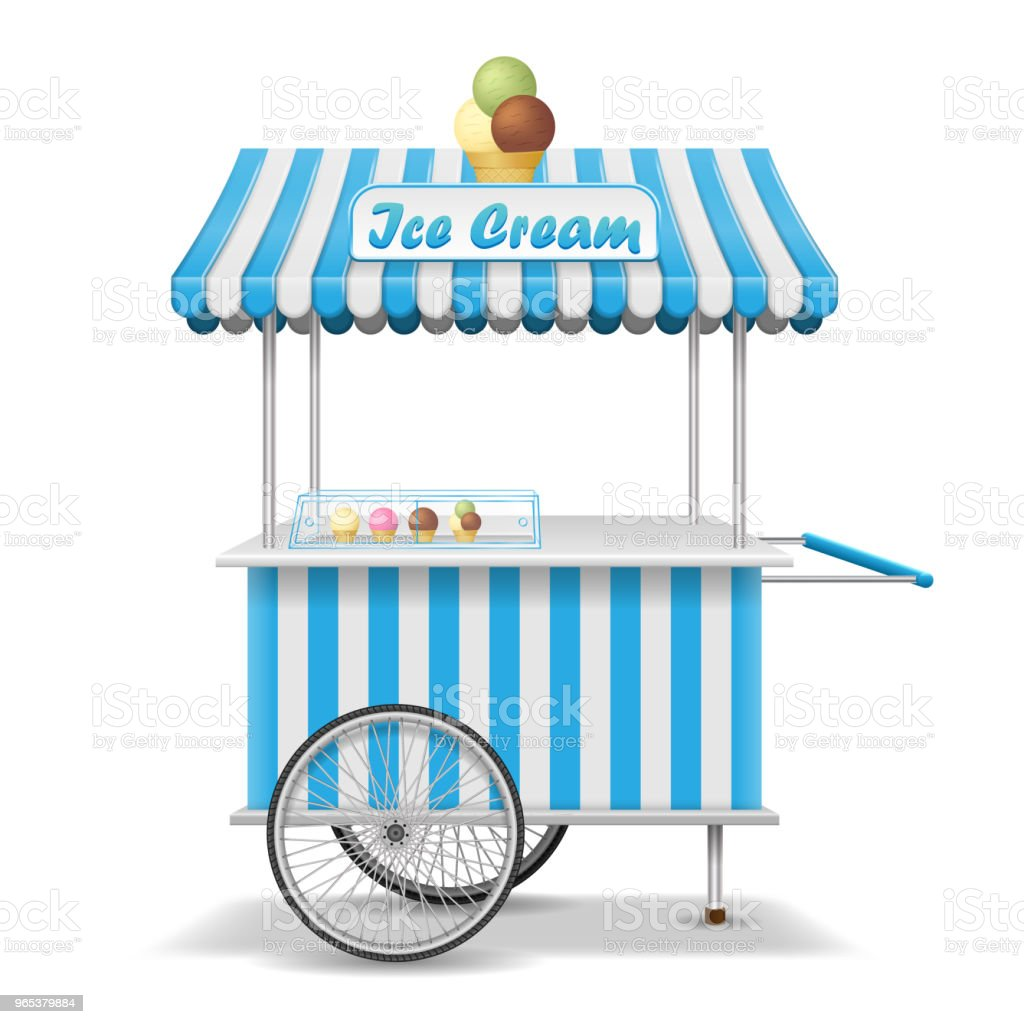 Realistic street food cart with wheels. Mobile pink ice cream market stall template. Ice cream kiosk store mockup. Vector illustration royalty-free realistic street food cart with wheels mobile pink ice cream market stall template ice cream kiosk store mockup vector illustration stock vector art & more images of art