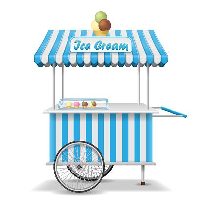 바퀴와 실제 거리 음식 카트입니다 모바일 핑크 아이스크림 시장 축 사 서식 파일입니다 아이스크림 키오스크 매장 이랑 벡터 일러스트 레이 션 0명에 대한 스톡 벡터 아트 및 기타 이미지