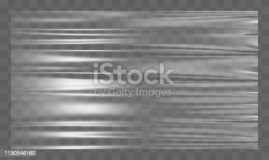Realistic stretched white plastic warp. Polyethylene background. Vector transparent cellophane mockup