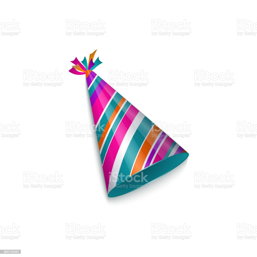Realistic striped birthday, Christmas party hat vector art illustration