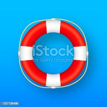 istock Realistic Style, lifebuoy Isolated on blue Background. Vector stock illustration. 1207136498