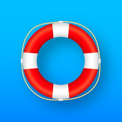 Realistic Style, lifebuoy Isolated on blue Background. Vector stock illustration.