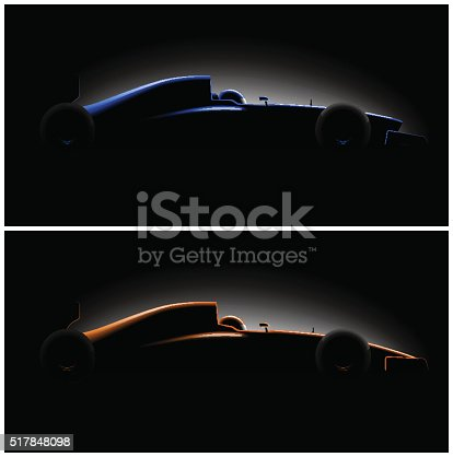 istock Realistic styled racing car formula side view in dark 517848098